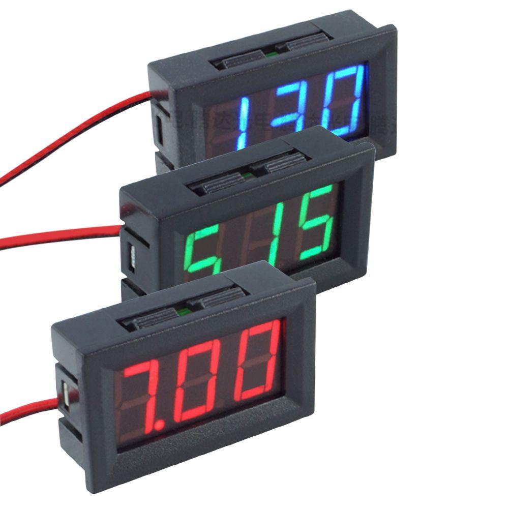 Mini DC 4.5-30 V 0.56 inç LED Dijital Voltmetre Iki telli Ekran Voltmetre Volt Ampermetreler Kırmızı / Mavi / Yeşil