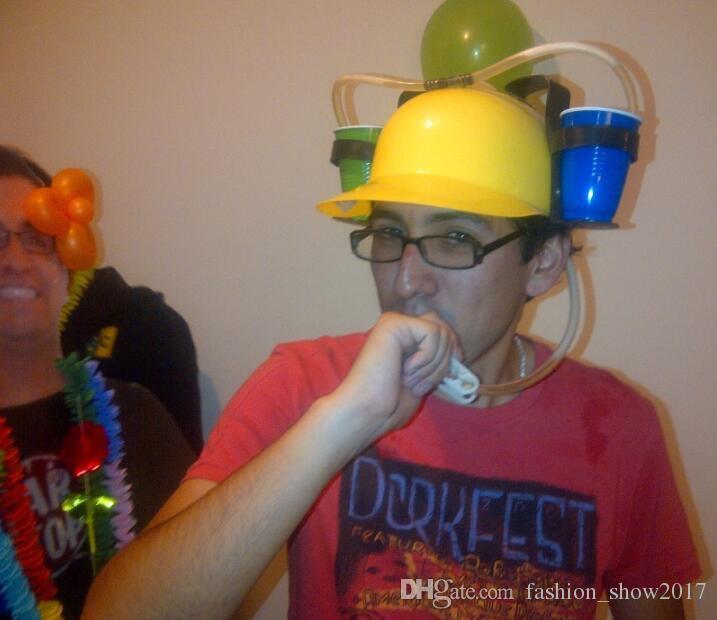 Soporte para bebidas Casco Pajitas para beber Plástico Manos libres Sombrero para beber cerveza Casco perezoso Favores de fiesta Accesorios de fiesta Regalos