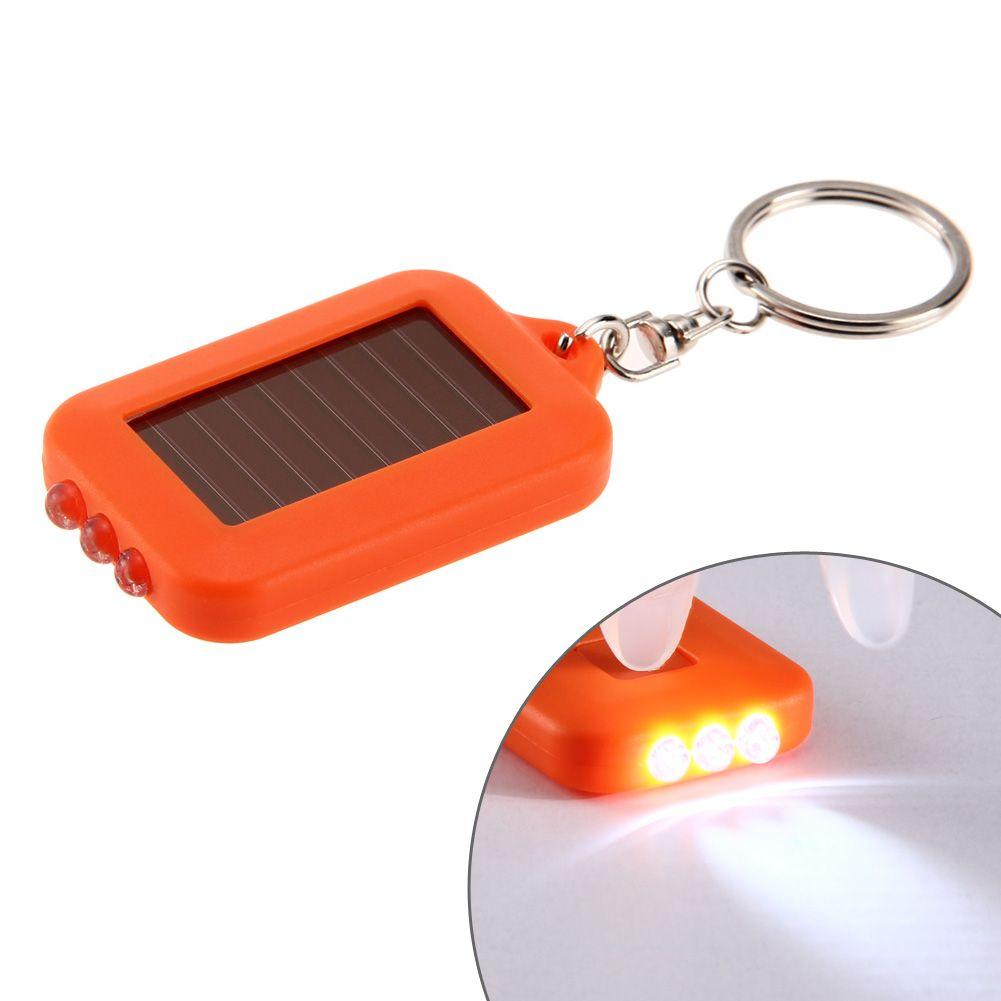 Solar Key Chain Portable Keychain Light 3 LED Flashlight Solar Powered Torch Solar Power Keychain Ring LED Flashlight Light Mini Key Chain