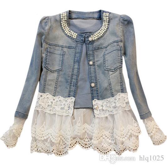 more photos 4522a 30588 Giacca di jeans Donna Casacos Feminino Slim Patchwork di perline Denim Lady  Elegante Vintage Giacche Cappotto spedizione gratuita
