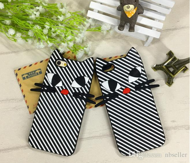 strip cat cartoon soft silicone case animal silicon rubber cover For Iphone 7 5s 5se 6 6s plus 7plus