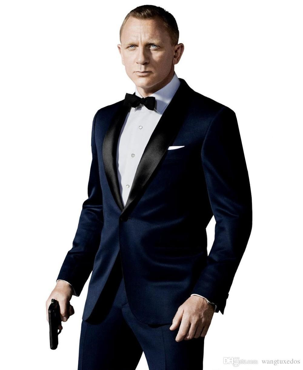 007 James Bond blu scuro / nero Smoking smoking giacca + pantaloni + cravatta Moda uomo Smoking Tux Boyfriend Blazer Bridegroom Abbigliamento uomo Speech