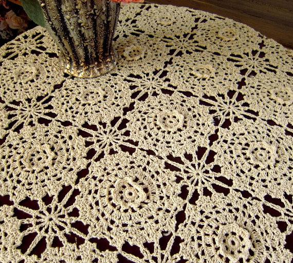 Vintage Style Square Table Cover 100 Handmade Crochet Flower Table Cloth Hand Crochet Pattern Table Topper For Home Decor