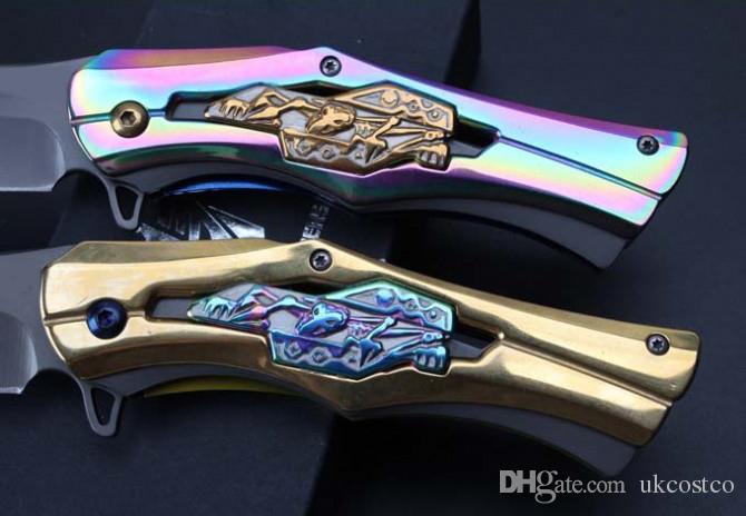 Подарок нож 2 Цвет прохладный дизайн складной нож 58HRC 5cr лезвие быстро открыть EDC карман выживания тактический открытый передач F740L