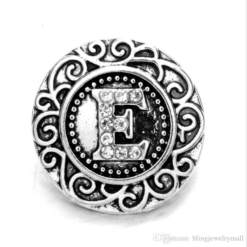 Letra inicial del alfabeto A-Z de 18 mm botón a presión Botón metálico a presión de la mariposa botón Snap Fit pulsera del collar pendiente Z0079