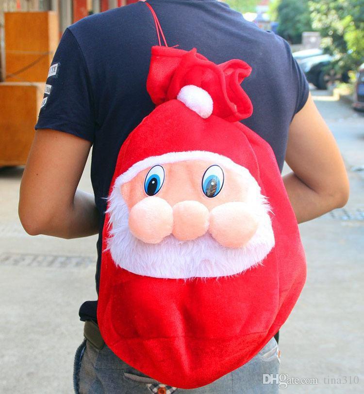 Chrismas Gift Bags Rucksack Cartoon Santa Geschenkverpackung Claus Super Soft Sack Weihnachten Candy Taschen kordelzug 45 * 35 cm 100 TEILE / LOS B0781