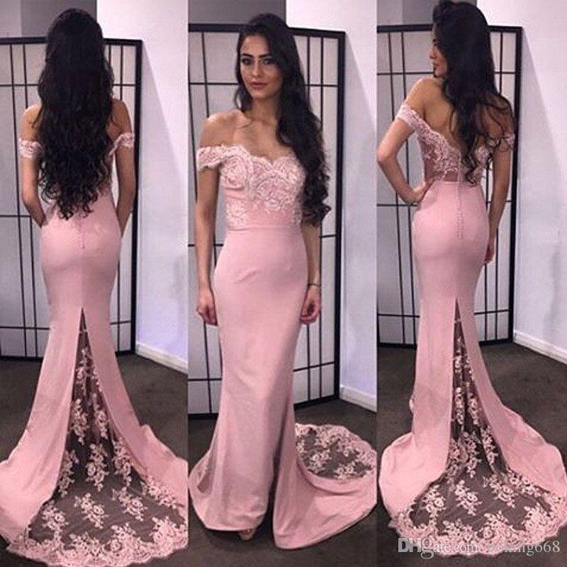 Vestidos de fiesta Vestido de fiesta de sirena con encanto 2019 Vestido de noche de novia sexy Aplique con botón y espalda Vestidos formales Traje de fiesta