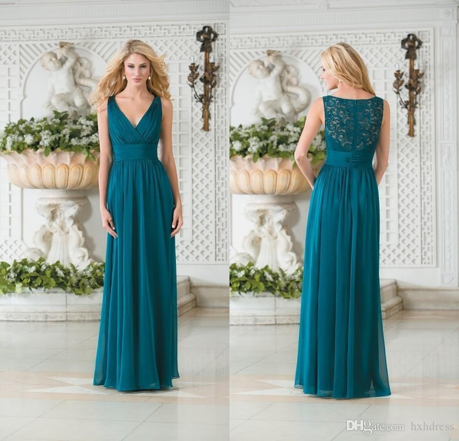 New Vintage V Neck Teal Green Chiffon Plus Size Long Bridesmaid Dresses  Lace Hollow Back Bridesmaid Gowns Maid of Honor Dresses Cheap 156