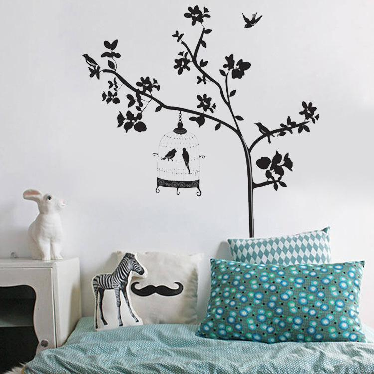 Black Tree Branches Birdcage Birds Wall Stickers Removable Living Room Sofa Background Wall Decals DIY Home Decor Wall Art Graphic Posters