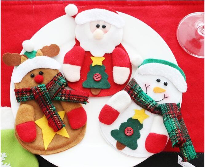 Natale Babbo Natale pupazzo di neve alce coltello forchetta borsa da tavola cena posate arredamento