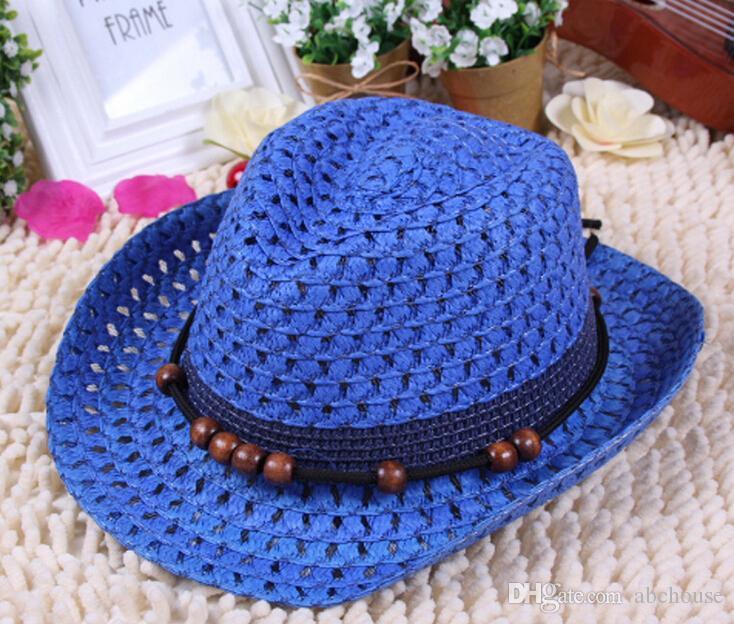 شحن مجاني بنما سترو قبعات الصيف طوي قبعات للأطفال الأزياء الخرز بخيل بريم قبعات بلون القبعات الشمس
