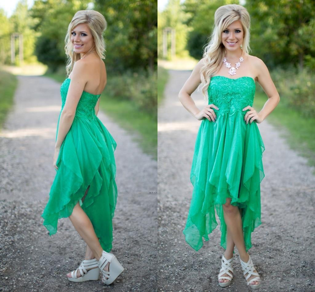 Country Style Green Cheap Bridesmaid Dresses Strapless Chiffon Lace ...
