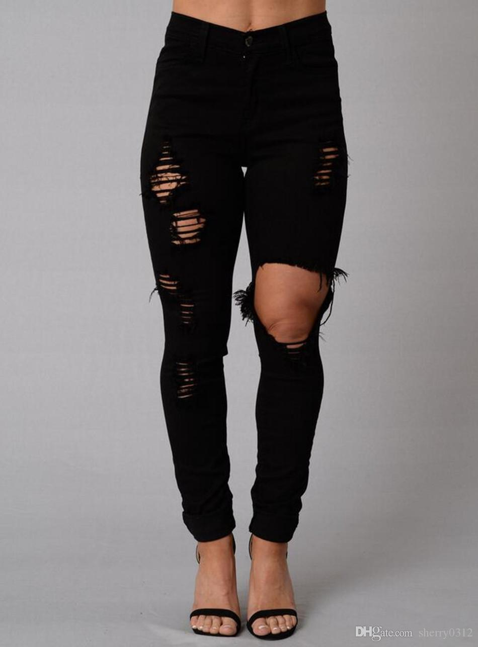 Check out women's black jeans with cuffed bottoms to highlight an awesome pair of shoes, from heels to flats or sandals. Try distressed wear and tear on your jeans for an eye-catching casual look with a tank top and sneakers, or an urbane professional look when combined with heels and a blazer.