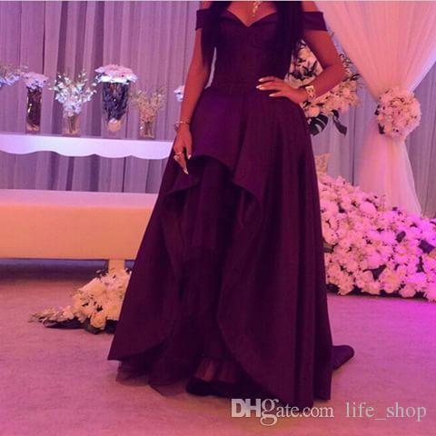 2016 Dark Purple Abendkleider Elegante Schulterfrei Eine Linie Bodenlangen Saudi-Arabien Abendkleider
