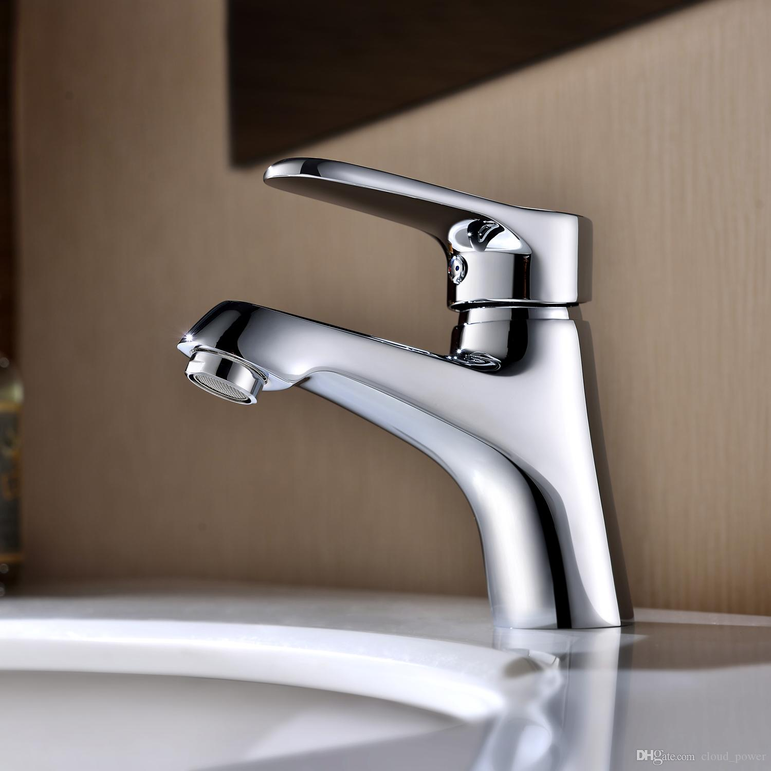 Bathroom Basin Faucets Polished Chrome Deck Mounted Ceramic Valve ...