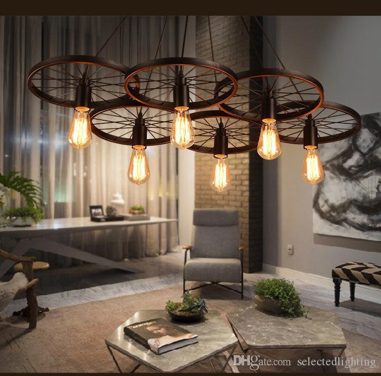 Suspension de plafond de roue Vintage s'allume luminaires modernes lampes LED Accueil éclairage métal industriel Edison E27 titulaire 3 / 6Heads lampe