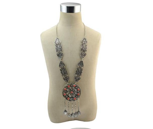Fashion Bohemian Ethnic Carved Flower Tassel Coin Pendant Inlay Green Stone Necklace Earrings Bracelet For Women Jewelry Set