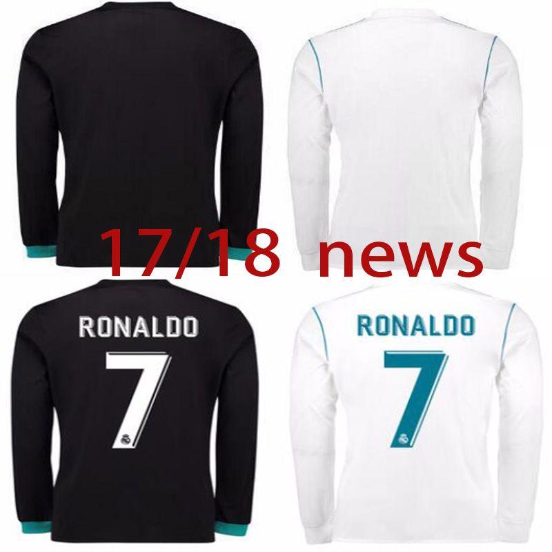 5ae6e052620ad 2017 18 Nuevo Real Lejos De Fútbol Negro Camiseta De Fútbol Real Madrid De Manga  Larga Ronaldo Bale Uniformes De Fútbol Asensio Isco Ventas De Madrid Por ...