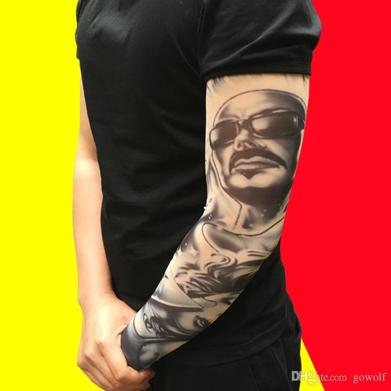 Men's Arm Warmers Men's Accessories New Arm Warmer Nylon Elastic Fake Temporary Tattoo Sleeve Designs Body Arm Stockings Tatoo For Cool Men Women