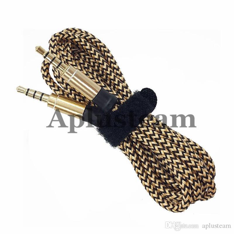 Auxiliary AUX 1,5 Mt 3 Mt Runde Ununterbrochene Metallgewebe Braiede Audiokabel Verlängerung 3,5 mm Stecker Stereo für Handy MP3 Lautsprecher Computer