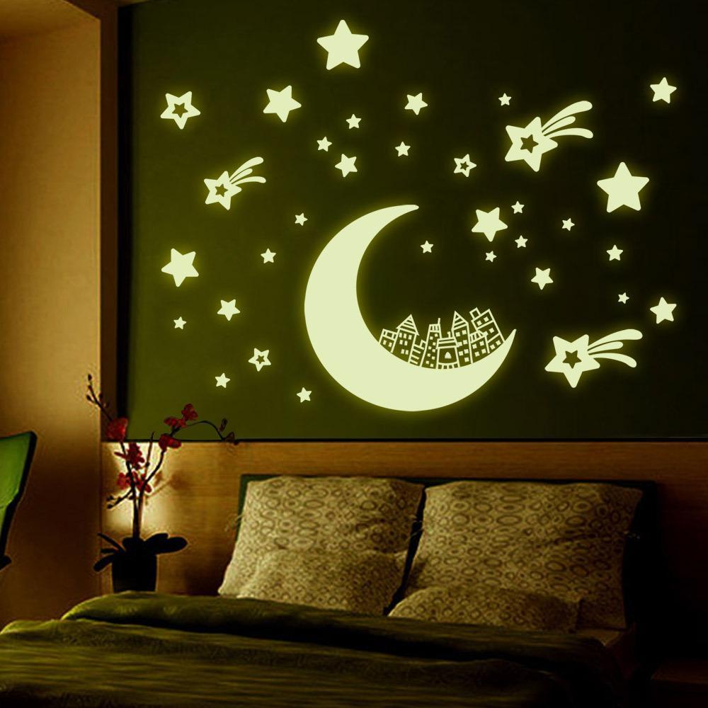 High Quality Fashion Kids Bedroom Living Room Star Moon Luminous