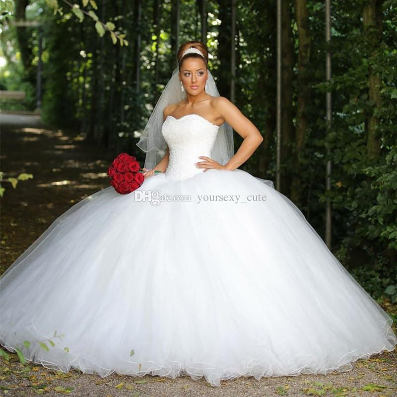 Beaded Cheap Organza Beach Wedding Dresses China Ball Gown: 2018 Luxurious Ball Gown Wedding Dresses Sweetheart