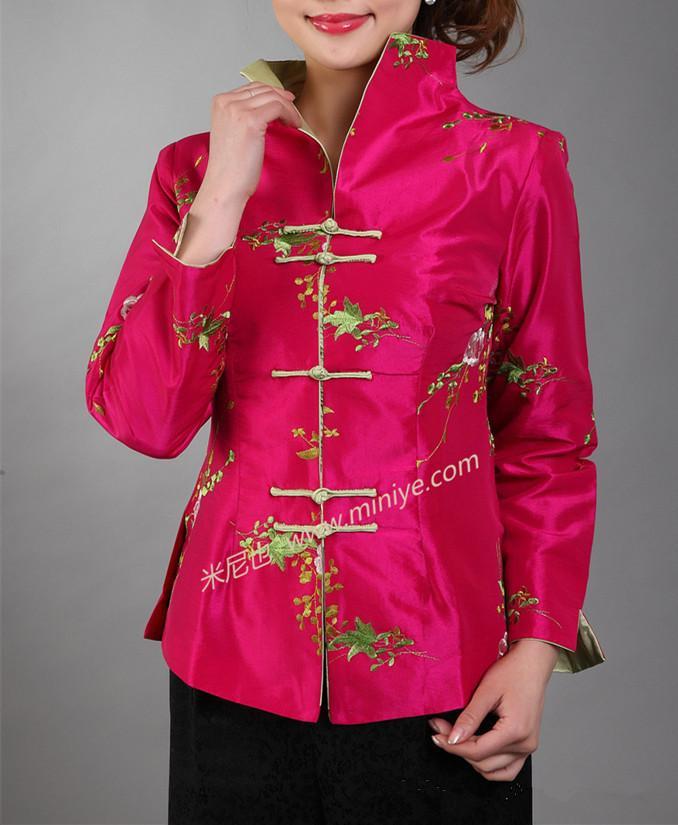 842618667 Wholesale- Hot Pink Traditional Chinese Women's Silk Satin Embroidery  Jacket Coat Flowers Size S M L XL XXL XXXL Free Shipping Mny19-B