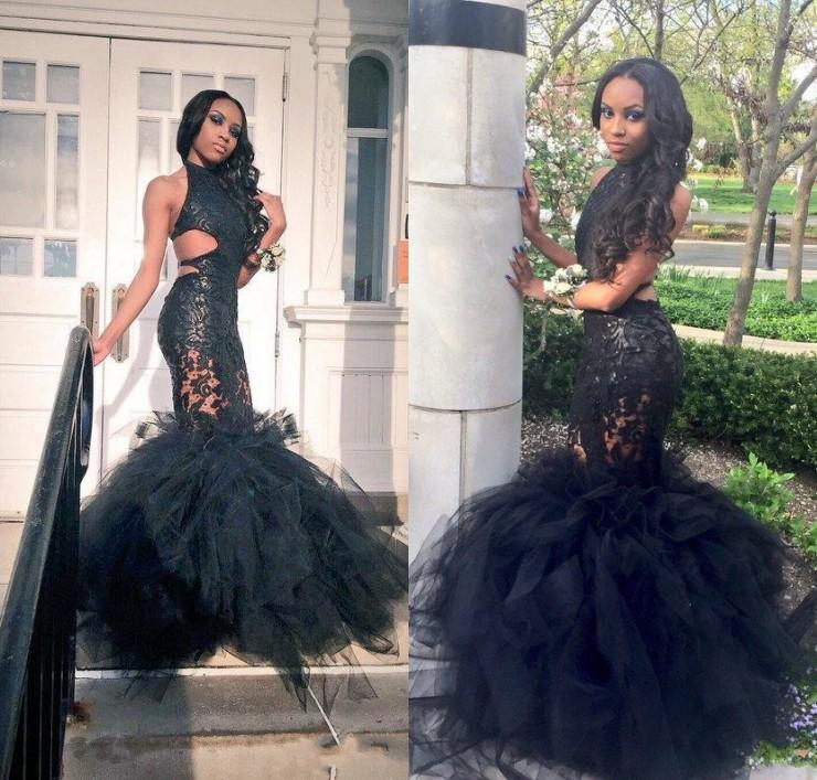 84cf23d0382 Sexy Black Girls Mermaid Prom Dresses 2016 Sheer Halter Backless Puffy Skirt  Beaded Lace Applique Formal Dresses Evening Gowns Custom Prom Dress For  Sale ...