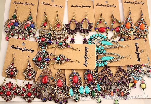 2018 новая мода старинные Тибетский Серебро / Бронза смолы драгоценный камень алмаз серьги Богемия стиль ювелирные изделия смешанные 24 стиль 24 пар / лот