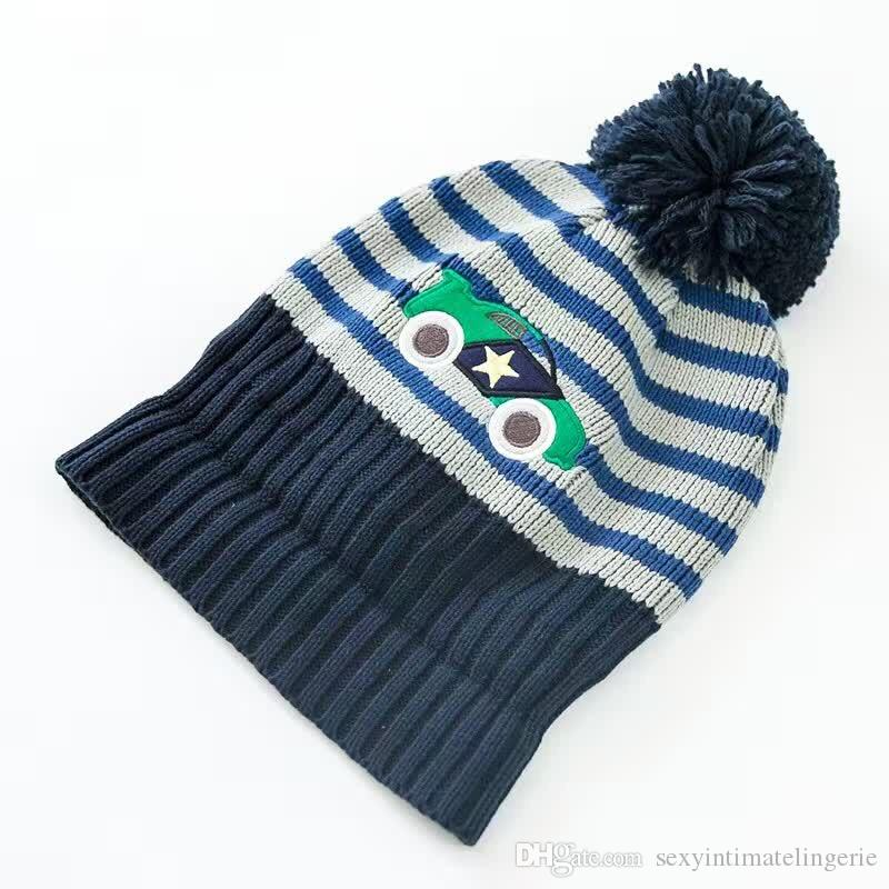 Wholesale Car Embroidery Cotton Toddler Hat +Scarf +Gloves Set Crochet Baby Beanies Kids Fall Winter Cap Handmade Windproof Earmuff Cap