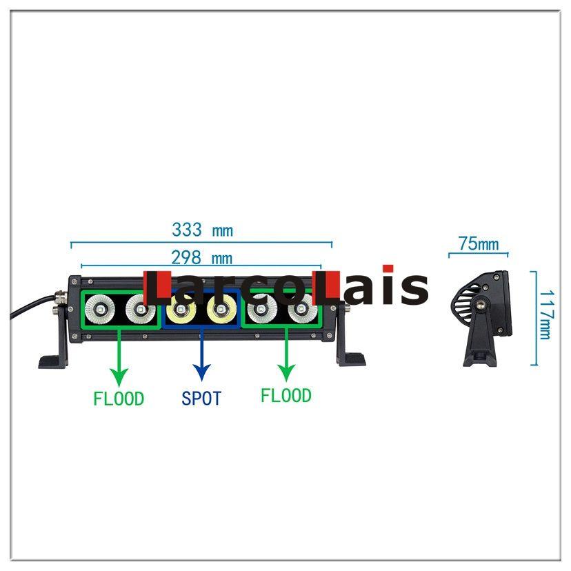 Larcolais 12,5 Zoll 60w Cree LED Lichtleiste Motor 4x4 SUV ATV Offroad fahren Arbeit Nebelscheinwerfer