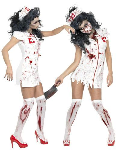 scary halloween costumes for women horrible nurse day of the dead doctor party cosplay latex zombie bloody the walking dead scary costumes halloween