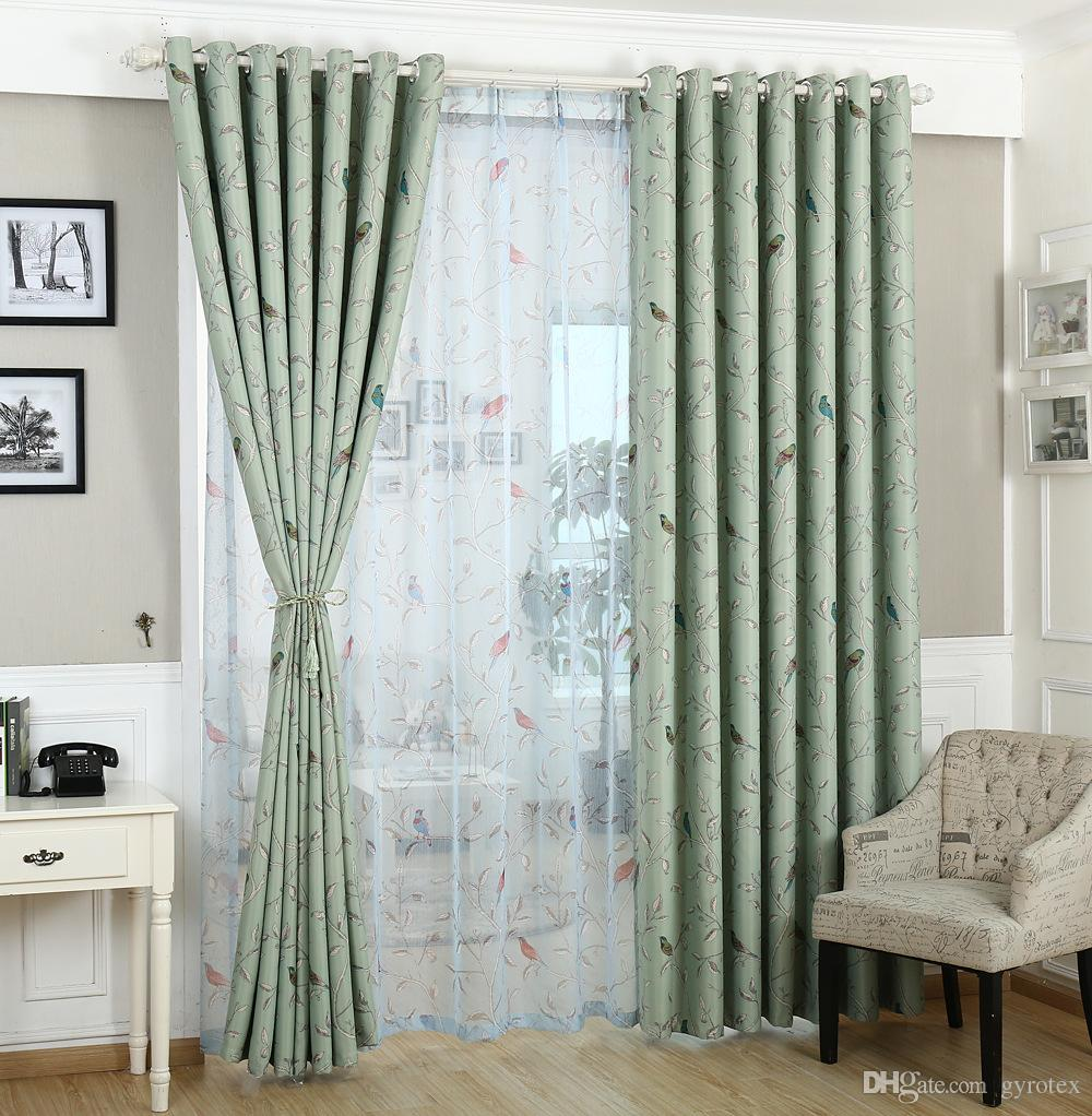 Green curtains for bedroom - 2018 Traditional Turquoise Green Birds Pattern Thermal Insulated Print Blackout Curtain For Bedroom Silver Grommet Top Set Of 1 Panel From Gyrotex