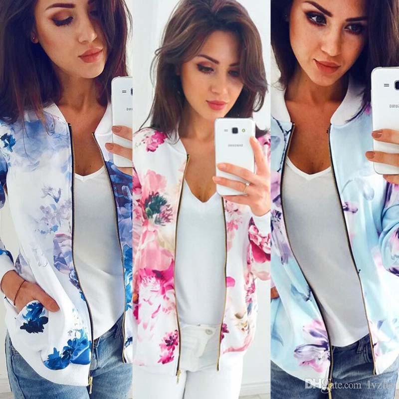 New Fashion Womens Ladies Long Sleeve Flower Printed Zipper Slim Baseball Jacket Coat Tops 4 Size