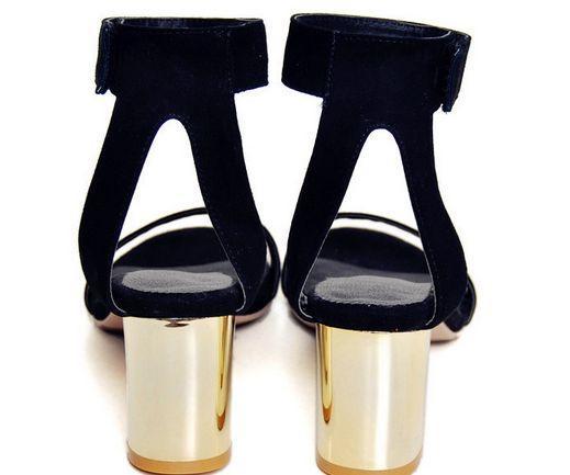 Yüksek kaliteli ~ B101 34/40 siyah hakiki deri gümüş kalın topuk ayak bileği kayışı sandalet ayakkabı pist moda kadın