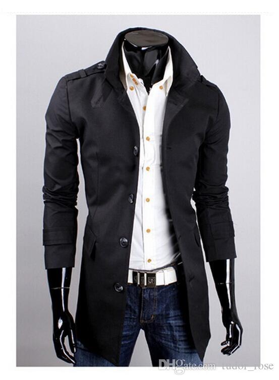2016 Yeni Moda erkek Orta Uzun Versiyon Tek Göğüslü Düğme Trençkot Erkek Rahat Giyim Erkek Ceket