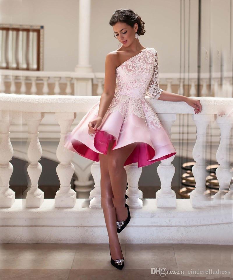 38a85a6e31f56 Sexy Curto Vestidos de Cocktail 2016 Rendas Cetim de Um Ombro Elegante Para  As Meninas Do Partido nupcial Árabe Vestido de Baile Homecoming Ocasião  Especial ...
