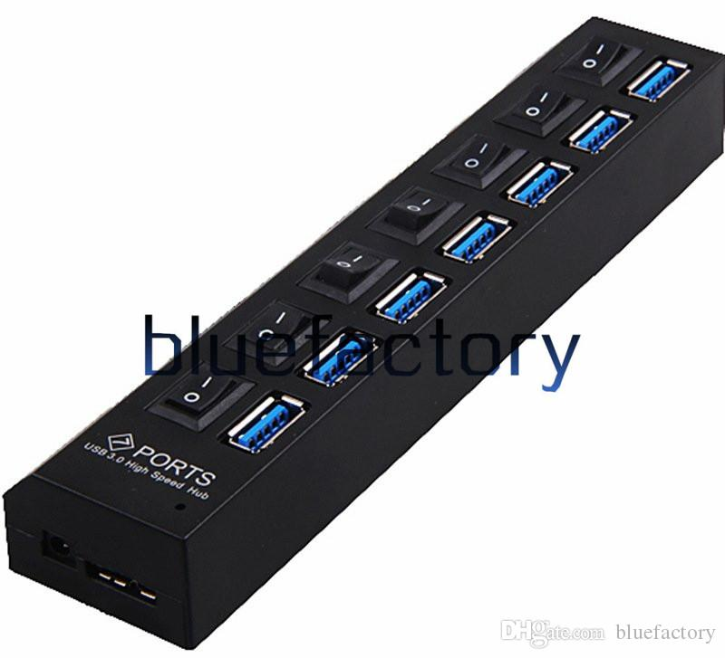 High Speed 7 Ports USB 3.0 Switch HUB with EU US Power Adapter Socket LED Light UP Concentrator cable for iphone Charger PC Desktop Laptop