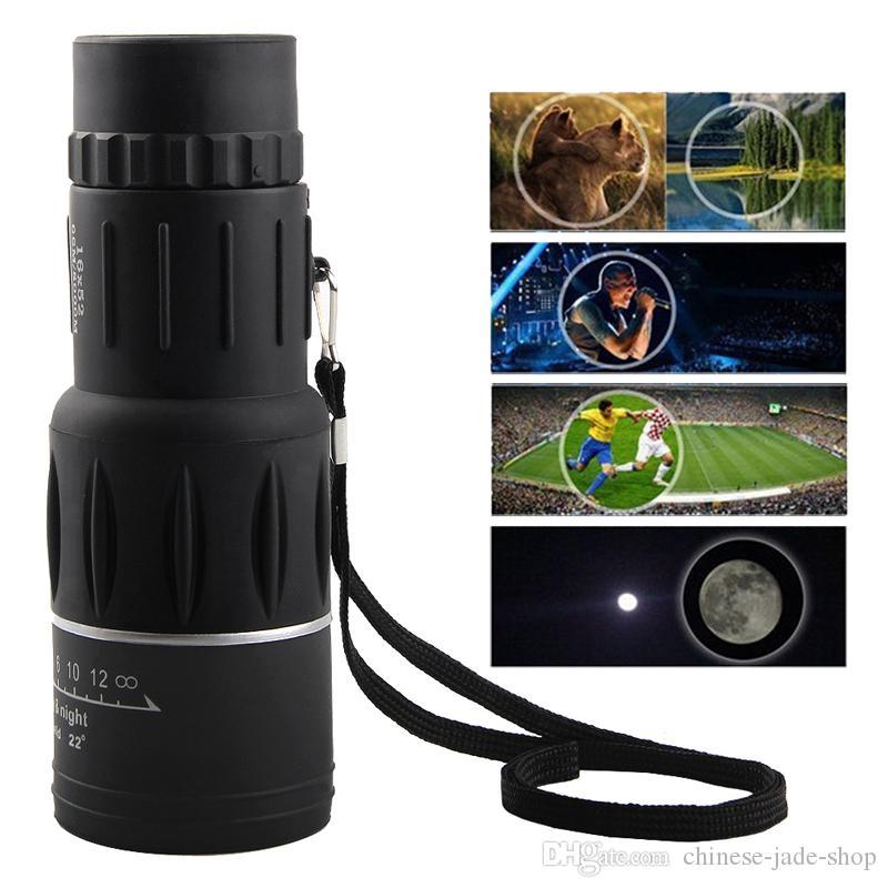 HaleBor 16x52 Lentille optique à focale unique Vision nocturne avec blindage Portée de télescope monoculaire de voyage avec clip universel /