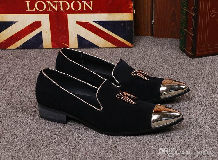 Luxe Hommes D'affaires Loisir Robe Habillement Designer Bout En Métal Charme Charme Slip Sur Daim Chaussures En Cuir Pour Hommes Dargon 38-46