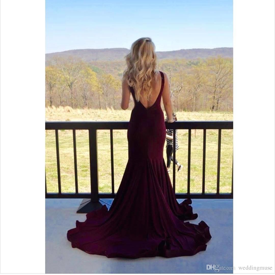 Hot Cheap Burgundy Prom Dresses Boat Neck Sexy Sleeveless Backless Sweep Train Long Mermaid Formal Evening Party Dress