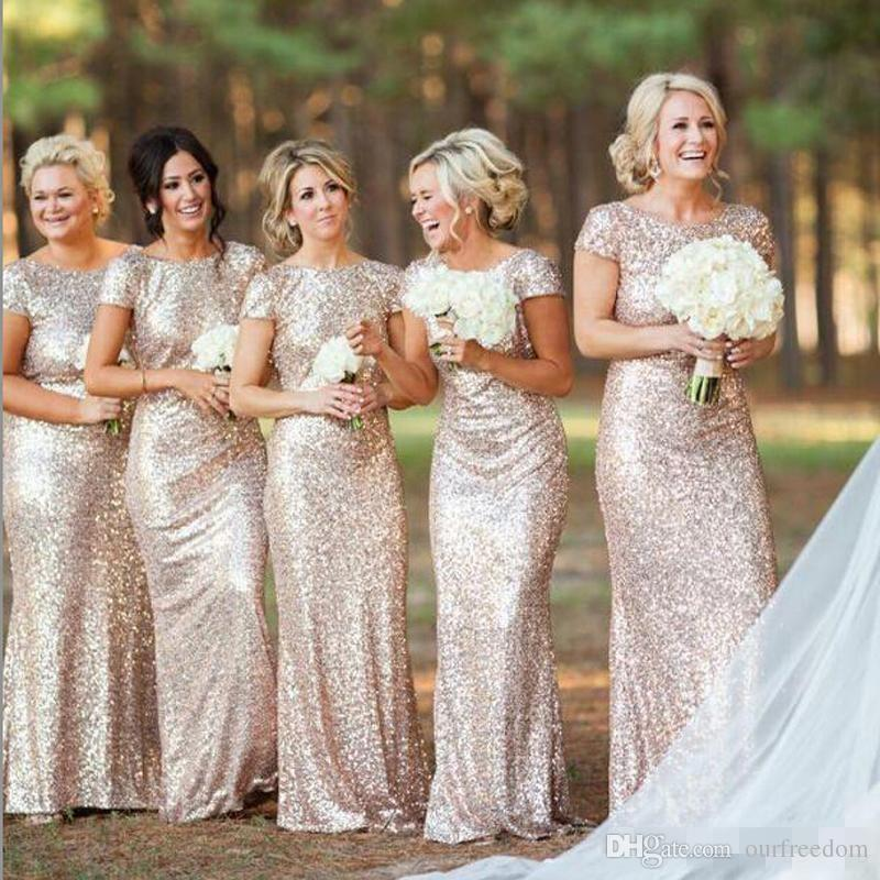 REAL Sparkly Rose Gold Cheap Mermaid Bridesmaid Dresses 2019 Short Sleeve Sequins Backless Long Beach Wedding Party Gowns Gold Champagne