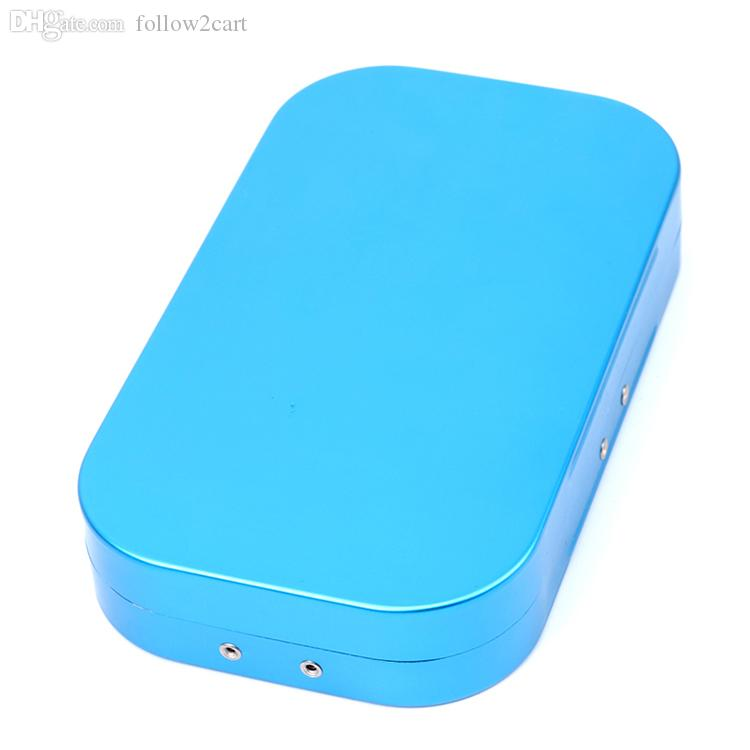 Small Aluminum Fly Fishing Boxes 16 Compartments Portable Size 155*90*25mm Flies Hooks Storage Box Easy Open-Blue
