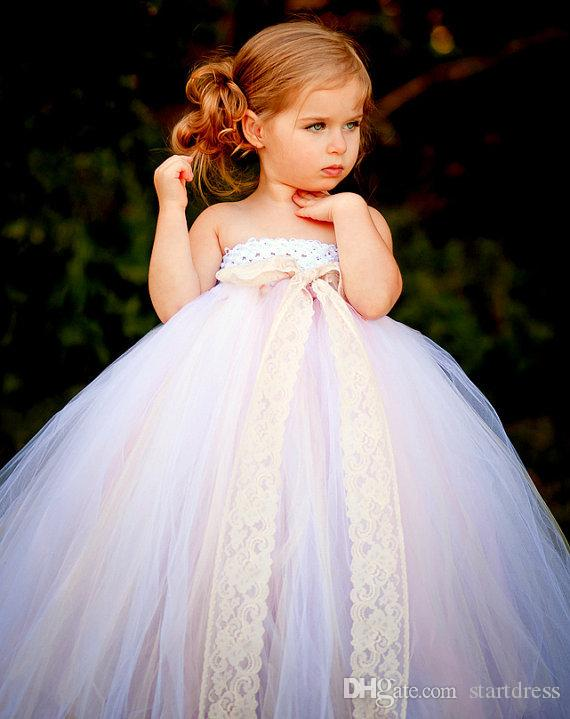 Stock Hot Sale Flower Girl Dresses Tutu Dresses Ball Gown Strapless Tulle Flower Girl DressesToddler Pageant Dresses Cheap Flower Girl Dress