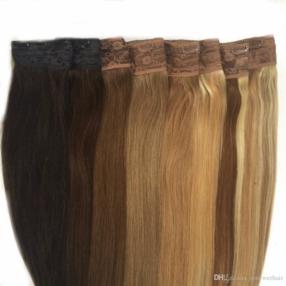 80g Quad Weft One Piece Clip In Hair Extensions Ash Blonde Mixed