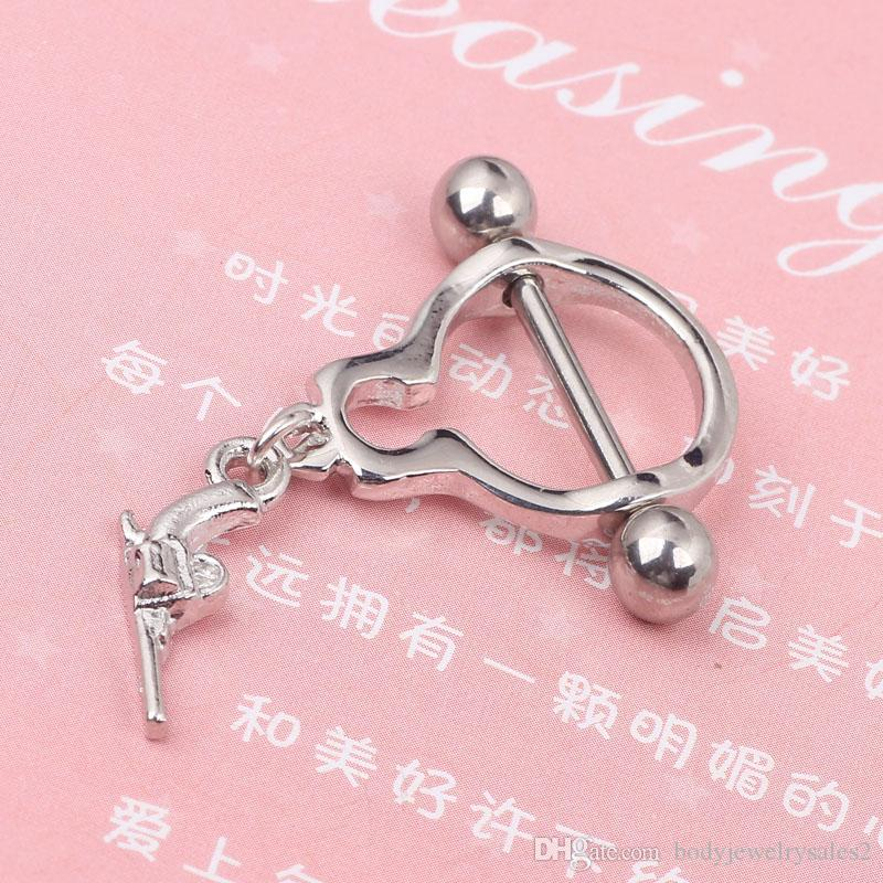 Round Handcuffs Nipple ring body piercing jewelry Nickel-free 14G stainless steel earring woman jewelry