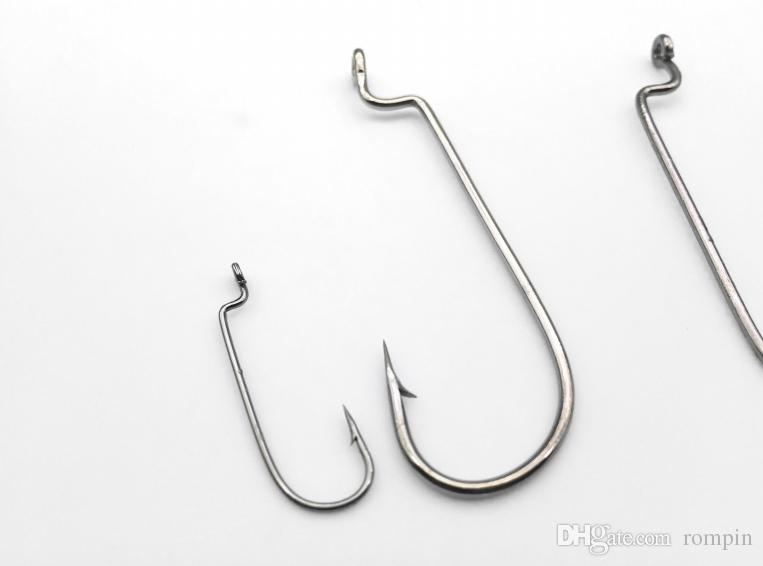 Rompin narrow Gap Worm Sea Fishing Hook High Carbon Steel Worm hook Crank Hook Soft Bait Long Jigging Hooks 6#-5/0#