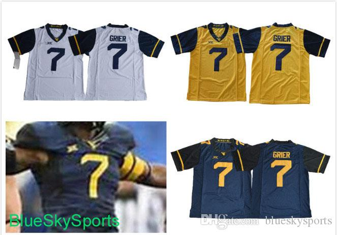 Mens West Virginia Mountaineers  7 Will Grier Jersey White Navy Yellow With  XII Patch College Football Jerseys Stithced S 3XL UK 2019 From  Blueskysports 2033c308f