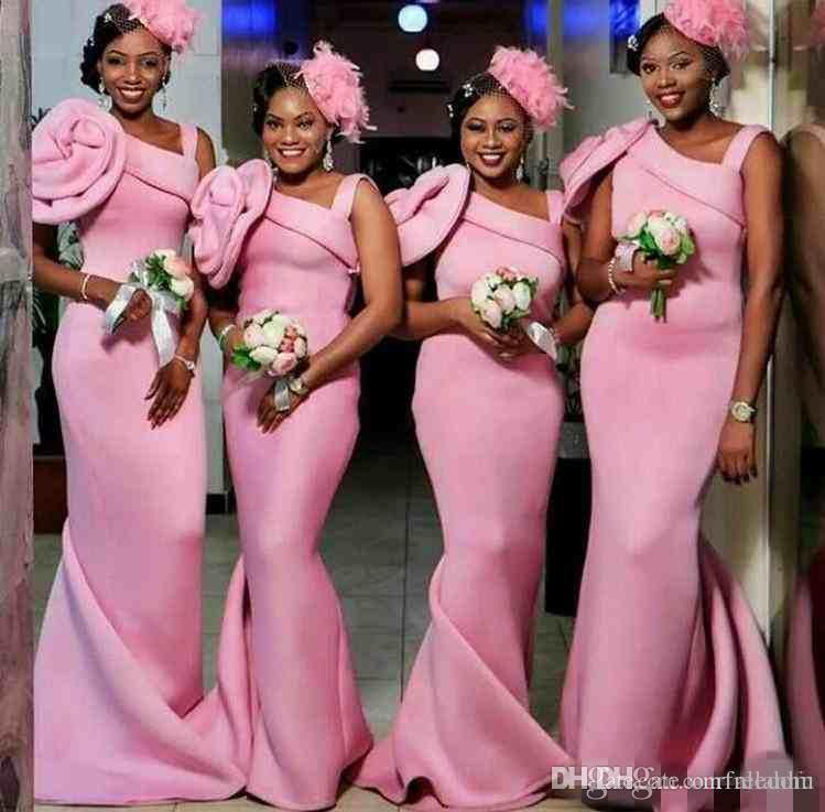 2017 Modern Pink Satin Mermaid Bridesmaid Dresses Handmade Flower Floor  Length Wedding Guest Maid Of Honor Dress Country Wedding African Designer  Bridesmaid ... efa568b062d5