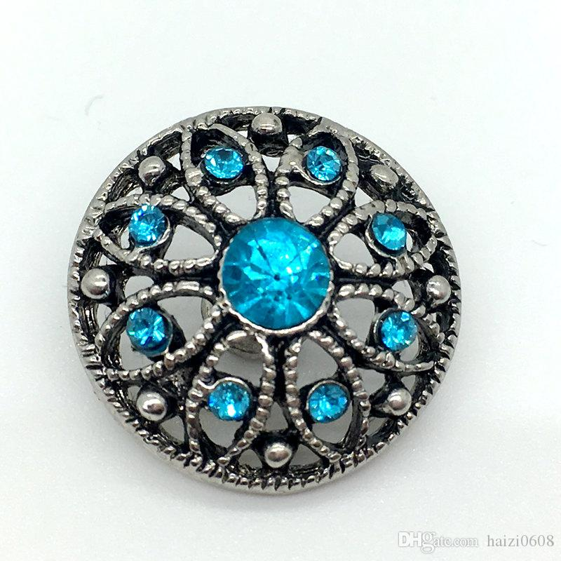 Noosa Snap Button Rhinestone Chunk Charm Button 18mm Interchangeable Flower Hollow Style Jewelry For Ginger Snap Bracelet Necklace Ring